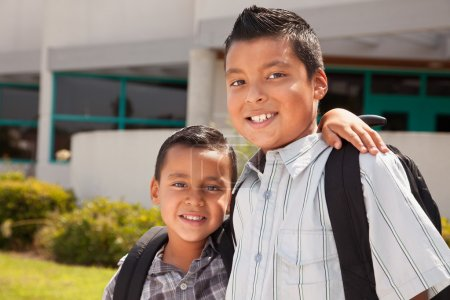 Cute Brothers Ready for School