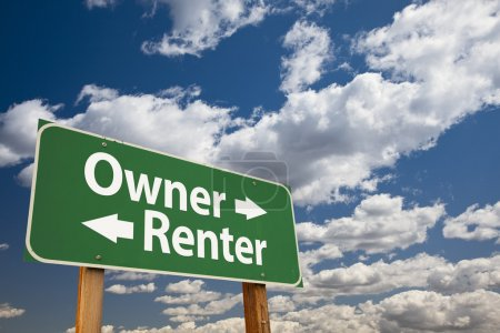 Owner, Renter Green Road Sign Over Clouds