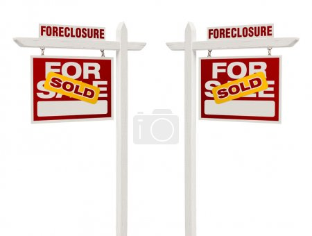 Two Foreclosure Sold For Sale Real Estate Signs, Clipping Path