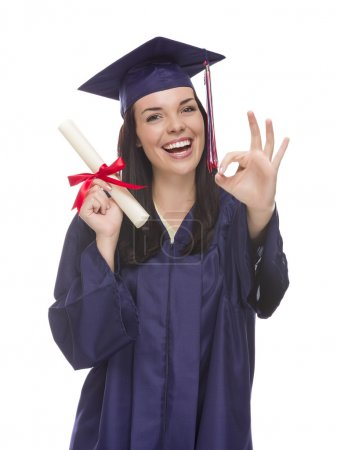 Mixed Race Graduate in Cap and Gown Holding Her Diplom