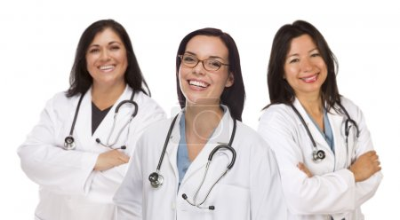 Three Hispanic and Mixed Race Female Doctors or Nurses