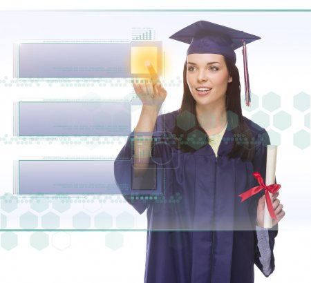 Female Graduate Pushing Blank Button on Panel with Copy Room