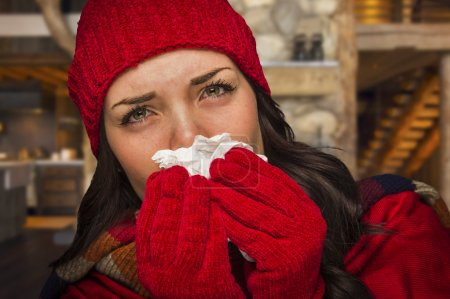 Sick Woman Inside Cabin Blowing Her Sore Nose With Tissue