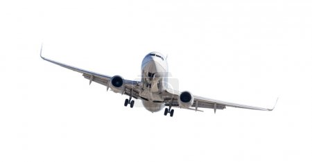 Jet Airplane Landing Isolated on White