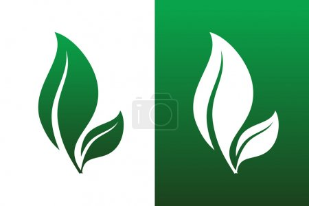 Illustration for Leaf Pair Icon Vector Illustrations on Both Solid and Reversed Background. - Royalty Free Image