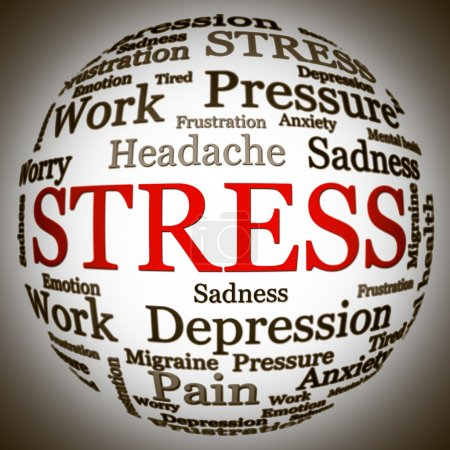 Photo for Stress related text arrangement (word cloud) with spherical form and the word STRESS in red uppercase (all other words are in black) - Royalty Free Image