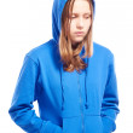 Angry teen girl in hood, studio shot...