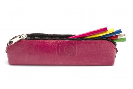 Photo for Beautiful pencil case isolated on white - Royalty Free Image