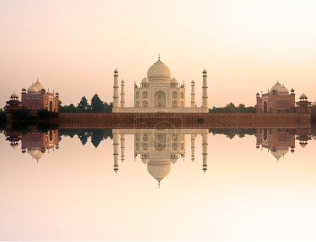 Photo for Panoramic view of Taj Mahal at sunset, Agra, Uttar Pradesh, India. - Royalty Free Image