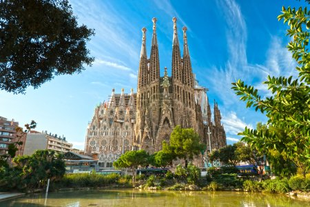 Photo for BARCELONA, SPAIN - DECEMBER 14: La Sagrada Familia - the impressive cathedral designed by Gaudi, which is being build since 19 March 1882 and is not finished yet Dec - Royalty Free Image