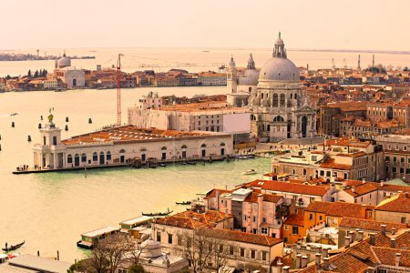 Venice, view of grand canal and basilica of santa maria della salute. Italy.