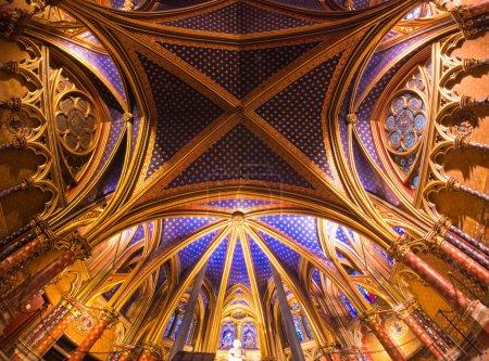 Interior view of the Sainte Chapelle, Paris, France.