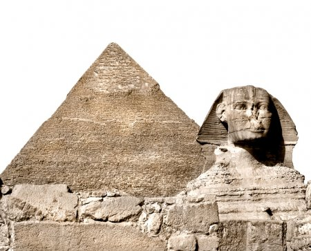 The Sphinx and the great pyramid, Giza, Egypt. Isolated on white