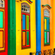 Colorful facade of building in Little India, Singa...