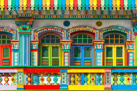 Photo for Colorful facade of building in Little India, Singapore - Royalty Free Image
