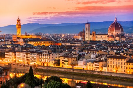 Florence, sunset skyline view.