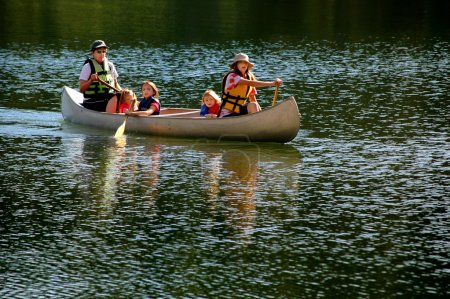 Family Canoeing at Lake
