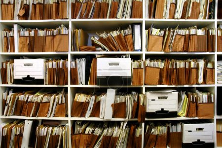 Photo for Office shelves full of files and boxes - Royalty Free Image