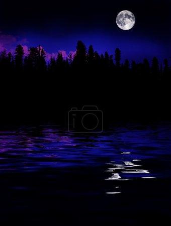 Photo pour Lever de lune au-dessus des pins dans les montagnes reflétées dans le lac - image libre de droit