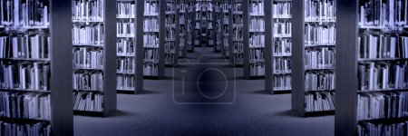 Photo for Rows of Shelves of Books in a Library - Royalty Free Image