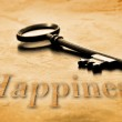 Key to Happiness on an old worn wooden desk top...