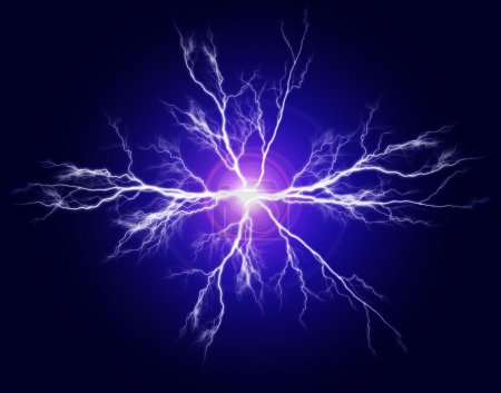 Photo for Explosion of pure power and electricity in the dark - Royalty Free Image