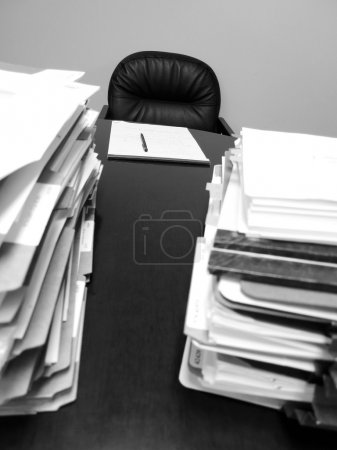 Business Desk with Papers and Files