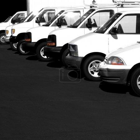 Several Cars Vans Trucks Parked Parking Lot