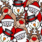 Seamless background pattern of christmas santa reindeer and snowman