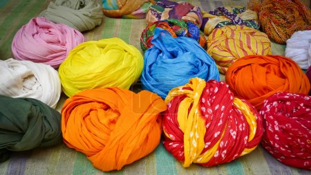 Colorful turbans for sale in Jaisalmer, Rajasthan,...