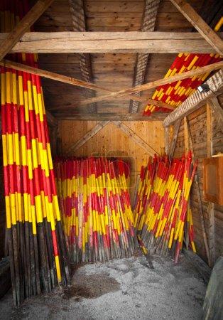 Stored snow poles