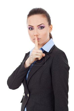 business woman shut up sign