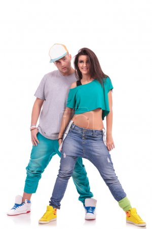 hip hop couple, man behind woman