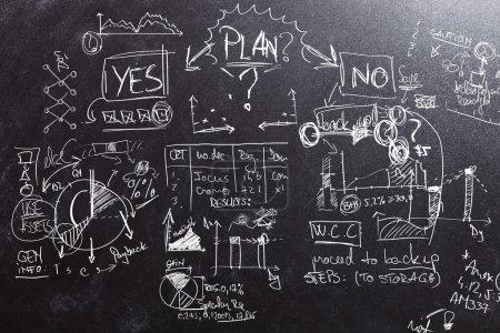 Photo pour Planification avec un choix Oui ou non sur un tableau noir - image libre de droit