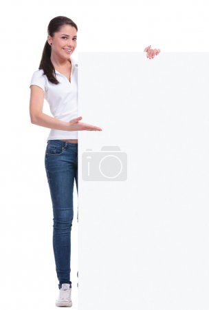 casual woman shows big banner