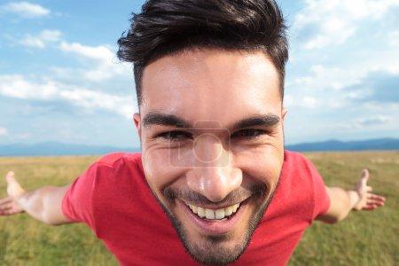 Casual man smile closeup