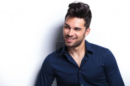Photo for Closeup portrait of a young fashion man making a goofy face. on a white background - Royalty Free Image