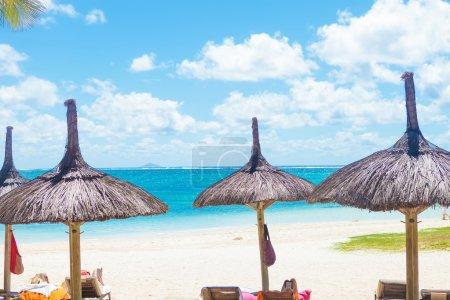 Photo pour Belle plage avec transats et parasols de paille à l'île Maurice - image libre de droit