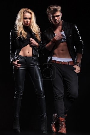young couple show you their abs