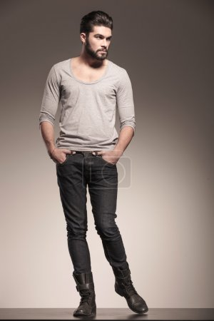 male model with beard in a fashion pose