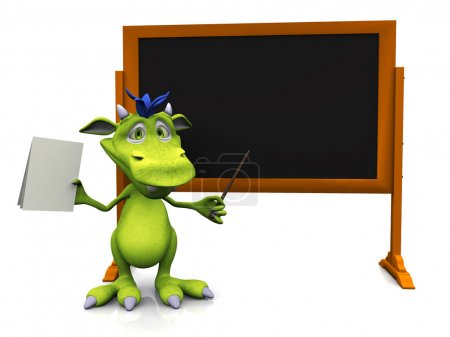 Cute cartoon monster standing in front of blank blackboard.
