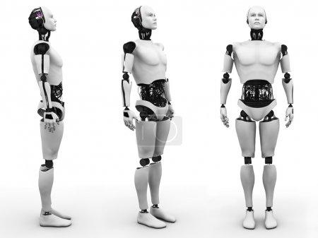 Photo pour Robot mâle debout, une vue de celui-ci sous trois angles différents. Fond blanc . - image libre de droit
