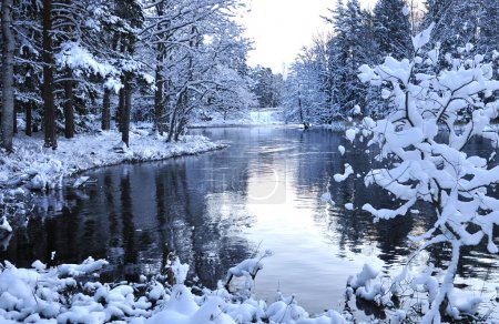 River landscape in winter before sunrise...