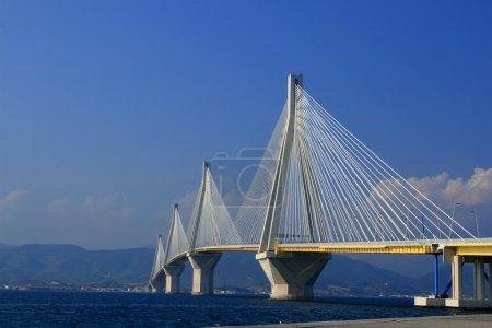 Suspension bridge crossing Corinth Gulf