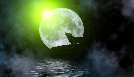 Illustration of wolf under full moon