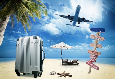 Photo for Beach suitcase travel tourism concept - Royalty Free Image