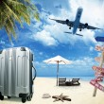 Beach suitcase travel tourism concept...