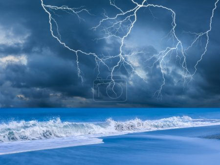 Photo for Beach on a stormy evening with lightnings - Royalty Free Image
