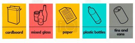 Photo pour Divers déchets recyclage, la collecte des signes - image libre de droit