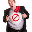 Young angry businessman tearing his shirt - traffi...